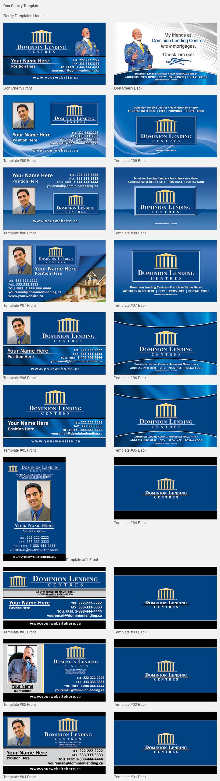 Dominion lending design templates unico print media for Dominion card template