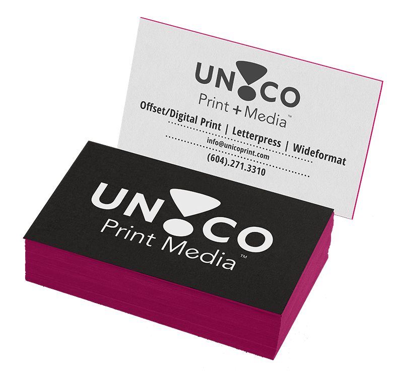 Unico print media specialty marketing designs that prints a difference a terrific way to add some pop to the sides of your business cards show that theres more to you than whats on the surface reheart Images